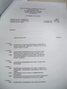 This billing statement from Charles McElyea in his duties as Camden County attorney, from 2013, is one of dozens reviewed by Theresa Townsend and Leslie Chamberlin.  It appears to be proof that Charlie Mac's claim, that he is incompetent and has exposed the county to liability through his billing statements, is unfounded.